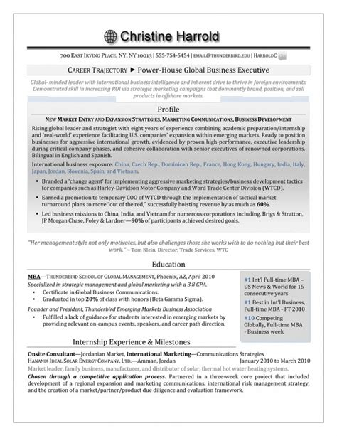 How To List Part Time Mba On Resume by Mba Grad Resume Career Steering Premium Executive Resume