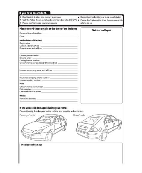 vehicle report templates  docs word