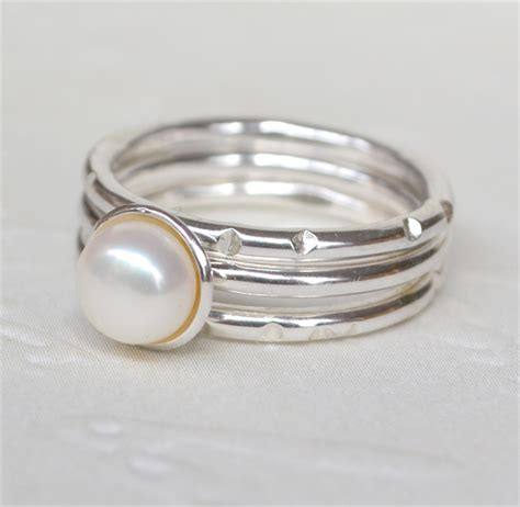 rustic pearl stacking rings sterling silver 28 images