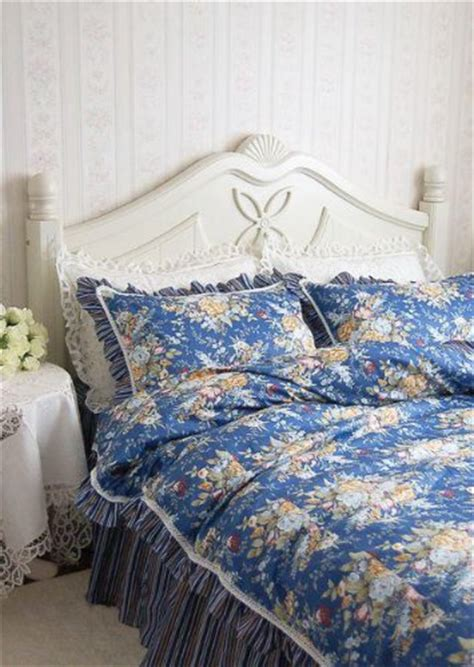 shabby and chic style dark blue ruffle lace duvet cover bedding set queen