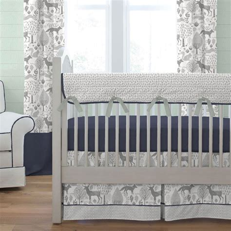 crib and bedding set navy and gray woodland crib bedding carousel designs