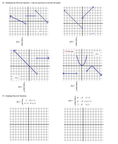 Worksheet Piecewise Functions Algebra 2