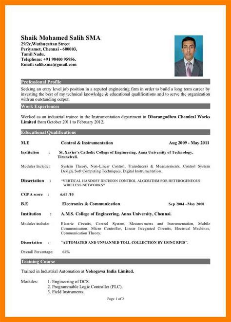 resume sle format for 5 simple resume format for freshers doc janitor resume