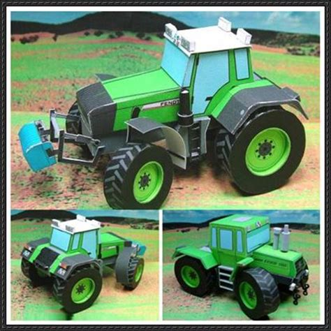 origami tractor tutorial three tractors free vehicle paper models download