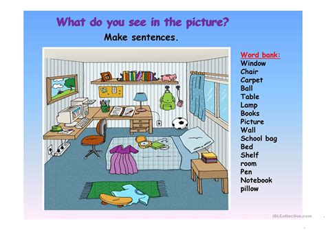 description of a bedroom picture description of a bedroom worksheet free esl