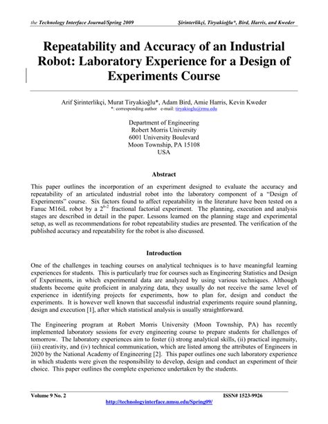 experimental design robotics repeatability and accuracy of an pdf download available