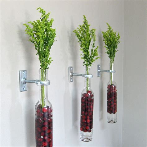 Wine Bottle Wall Vase by 3 Wine Bottle Wall Flower Vases Wall Vase Wall Decor