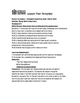 asca lesson plan template asca model study skills lesson with by a day in the
