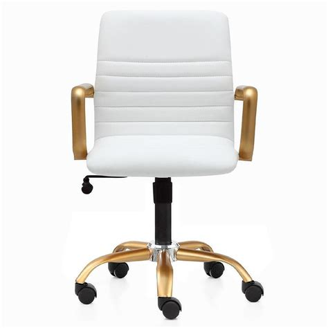 white and gold desk chair white leather button tufted office chair