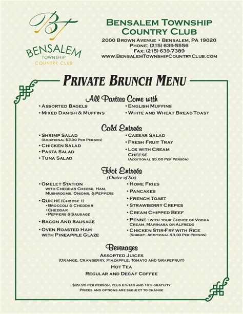 private brunch menu by bensalem township country club