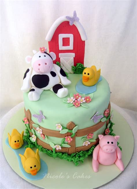 on birthday cakes farm themed baby shower cake