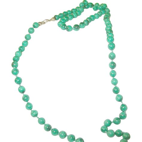 malachite bead necklace vintage malachite bead necklace 6 1 2 mm from
