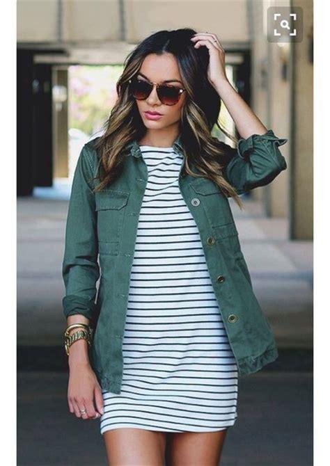 Striped Army Look Dress dress stripes jacket green coat striped dress black