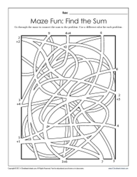 printable maze with multiple exits find the sum maze math worksheets
