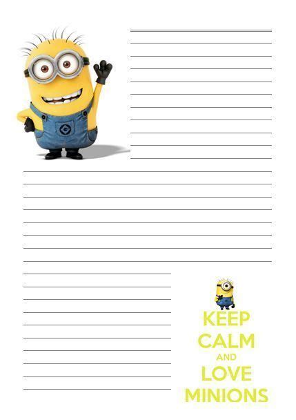 Printable Minion Stationery | details about minion despicable me letter writing paper