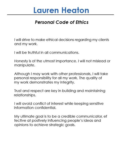 personal code of ethics template sle essay writing 187 daily
