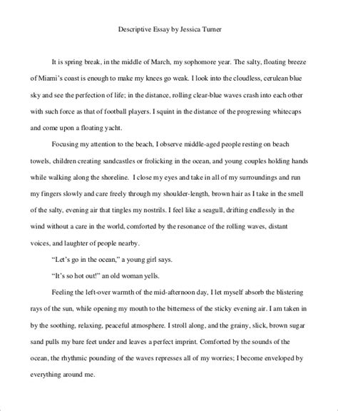 Personal Descriptive Essay descriptive essay exle 6 sles in pdf