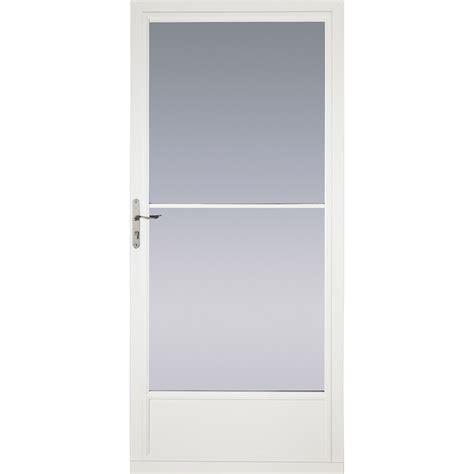 pella retractable screen door shop pella white mid view tempered glass retractable