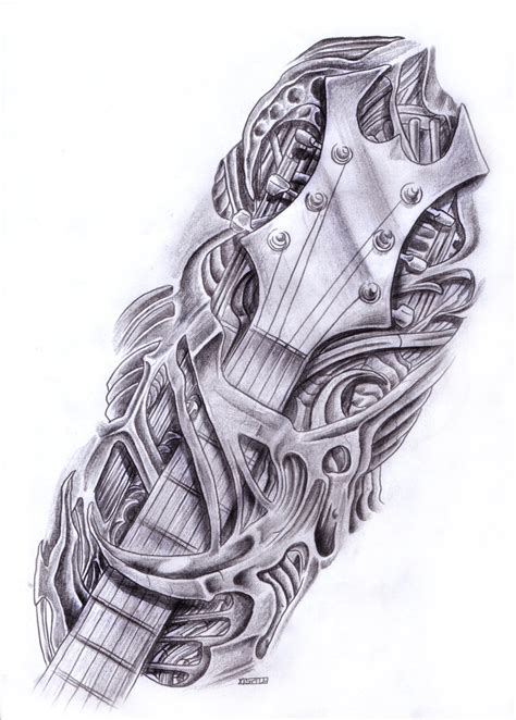 guitar neck tattoo designs biomech guitar by crackroach on deviantart