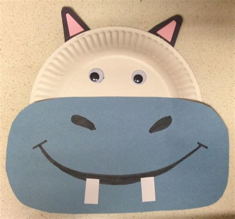 hippo paper plate craft hippo crafts for kindergarten
