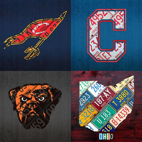 all sports fan cleveland sports fan recycled vintage ohio license plate