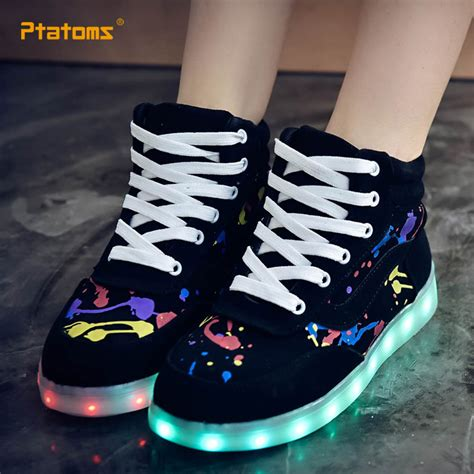light up sneakers high top led colorful shoes fashion usb