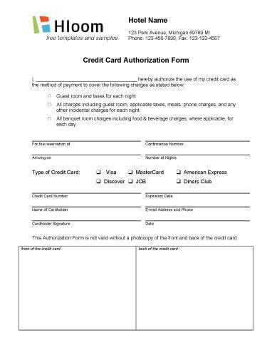 hotel credit card authorization form template credit card authorization forms hloom