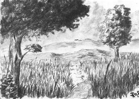 Charcoal Landscape Rysunek Pinterest More Charcoal Landscape Drawing Ideas