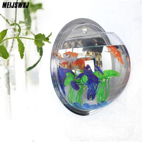 cm fish tank acrylic aquarium wall hanging flowers pot