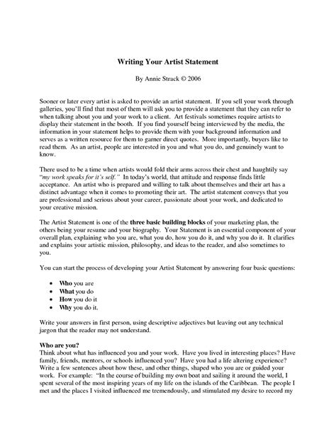 artist statement template artist statement sle anuvrat info