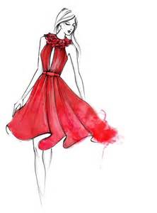 fashion jolie femme mode robe rouge dessin