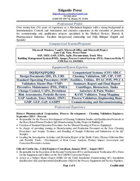 Process Validation Engineer Sle Resume by Edgardo Perez Resume 2qtr 2016