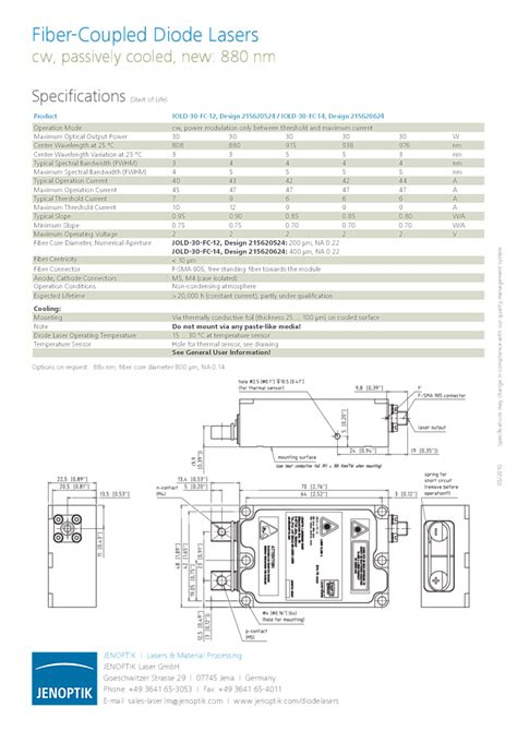 laser diode jenoptik jenoptik laser diodes 938nm 30watt module