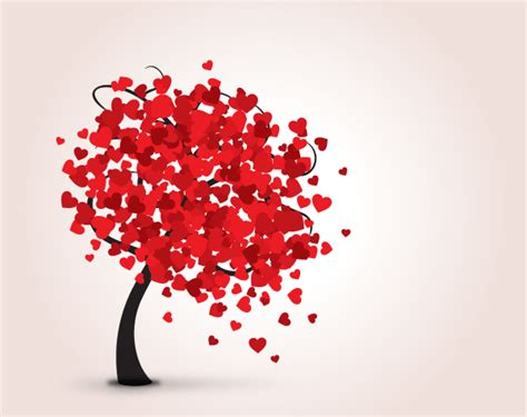 love tree  red hearts valentine card vector template