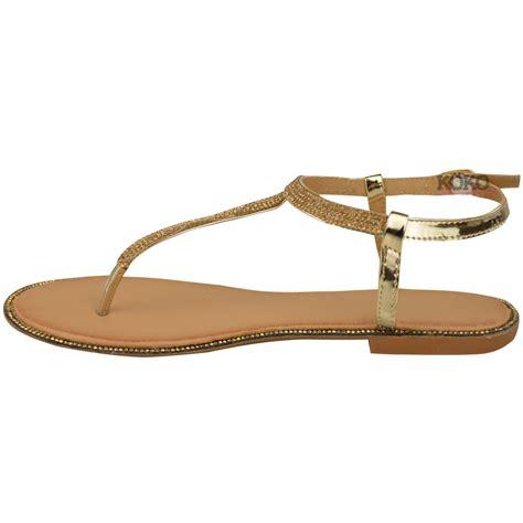 t bar sandals new womens flats toe post diamante sandals ankle