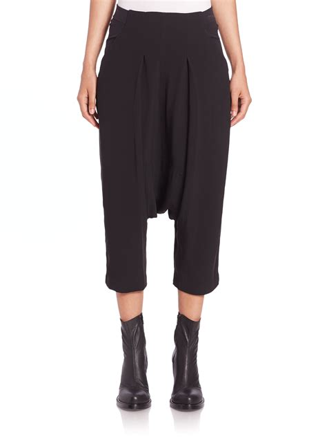 swing pants rick owens swing draped pants in black lyst