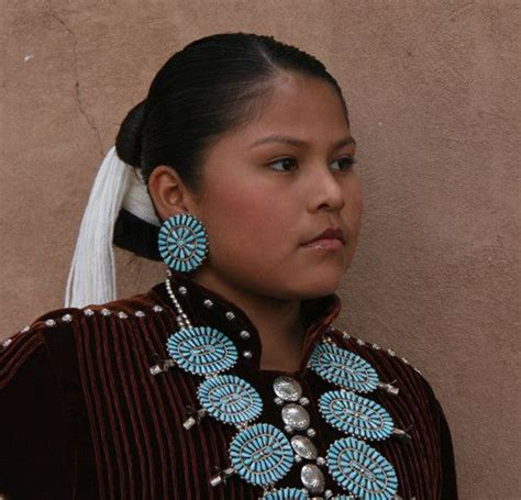 navajo women hairstyle navajo woman wearing zuni style turquoise cluster jewelry