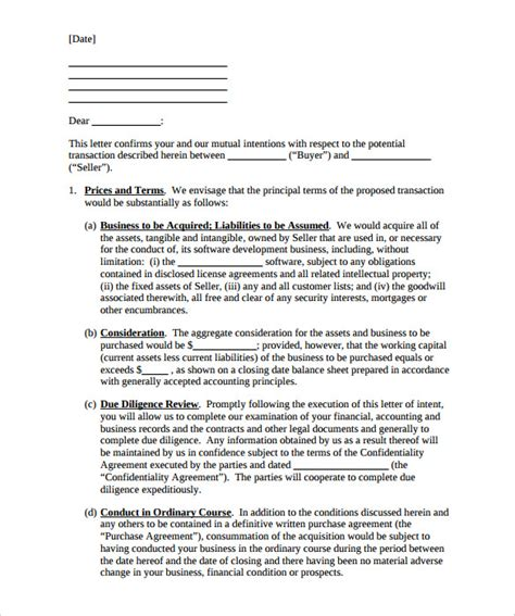 letter of intent to buy a business template 12 purchase letter of intent templates free sle