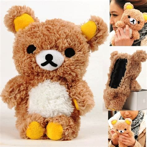 Rilakkuma Softcase Iphone 4 4s 5 5s S4 Limited warm winter lovely 3d teddy doll plush soft phone for iphone 4 4s 5 5s i6 for