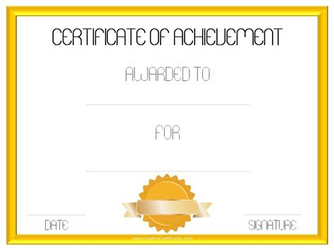 achievement certificate templates search results for certificate of achievement template