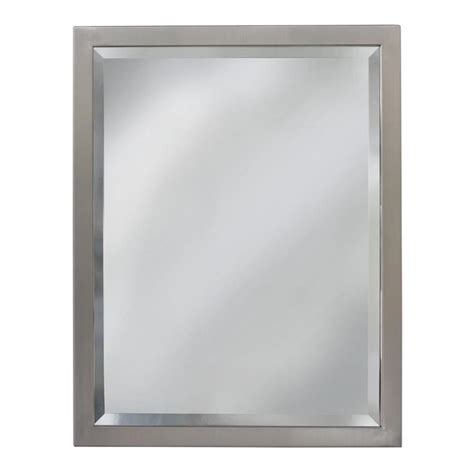 bathroom mirror 30 x 40 shop allen roth 30 in x 40 in brush nickel rectangular