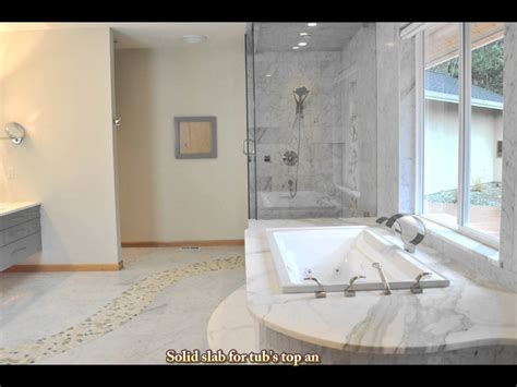 Small Bath Showers tile marble shower tub and floor with river rock pebbles