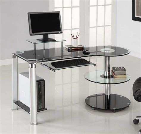 innovex glass computer desk black tempered glass desk design and style