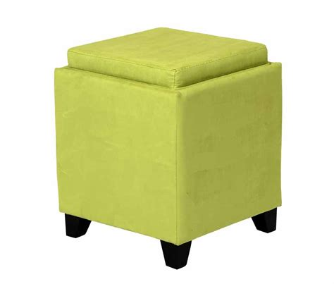 Microfiber Storage Ottoman With Tray Green Microfiber Square Storage Ottoman With Serving Tray