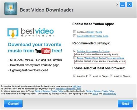 best video downloader free yontoo virus come rimuovere