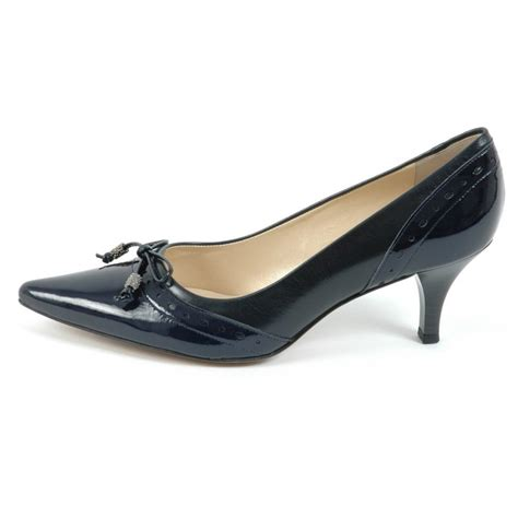 navy shoe ploen womens kitten heel shoes in navy leather kitten