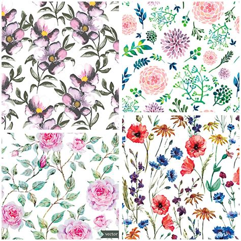 watercolor pattern flower watercolor flower pattern vector free download