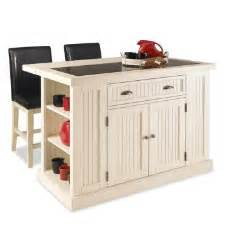 homedepot kitchen island home styles nantucket kitchen island in distressed white with black granite inlay and two stools