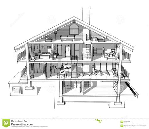 section a houses 3d section of a country house stock illustration image