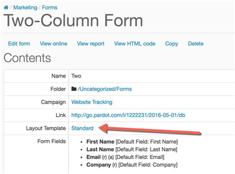 How To Create A 2 Column Pardot Form Pardot Form Templates